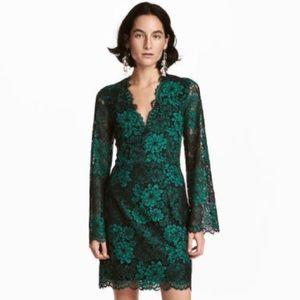 H&M emerald green black lace v neck dress